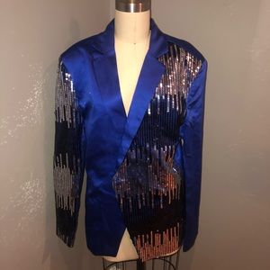 Jackets & Blazers - Sequined Satin Blazer